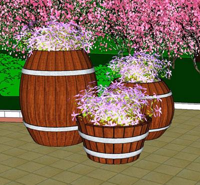 木酒桶花盆