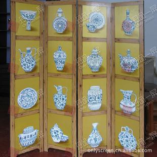 传统手绘漆画青花瓷工艺屏风