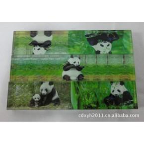 水晶玻璃镇纸 熊猫镇纸 长条形镇子