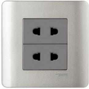 施耐德電氣-輕點系列E84426U2 10A雙聯二極扁圓腳插座(SA)