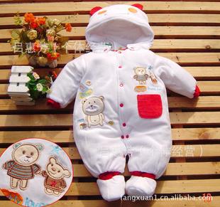 精灵贝贝小熊造型连体厚哈衣棉衣爬服 白底红边与白底蓝边 -服装图片