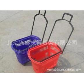 超市购物篮 小号拉杆式购物框 塑料购物筐手提篮带轮子拉杆购物篮