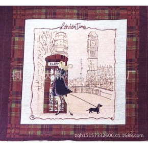 英伦风格电话亭美女靠垫抱枕面料色织提花