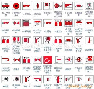 消防图标图纸符号