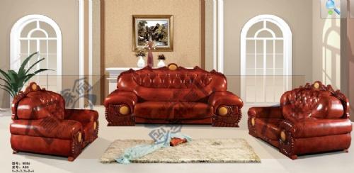 红木欧式真皮沙发