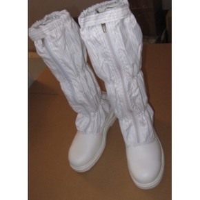 白色钢头靴长统防砸防静电无尘车间洁净室内工作鞋PR9718款带套统