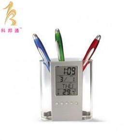 透明多功能笔筒万年历时钟 创意办公用品 电子万年历