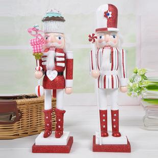 新品快订现货供应38cm纯手工绘制蛋糕胡桃夹子木偶客厅摆件