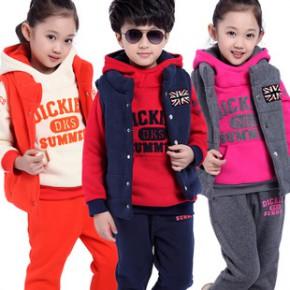 冬季品牌童装 韩版新款儿童卫衣男女加绒加厚运动套装三件套