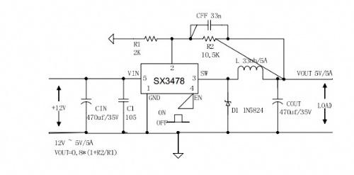 3a电源ic 舞台灯光,led电源ic sx3478 15,24v转5v芯片 24v转12v 电路