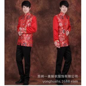 新款男士秀禾服 新郎喜庆中式结婚礼服长袖中山装 喜服批发零售