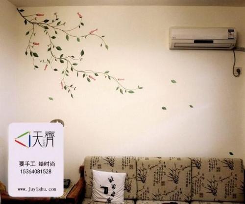 花卉小鸟手绘墙