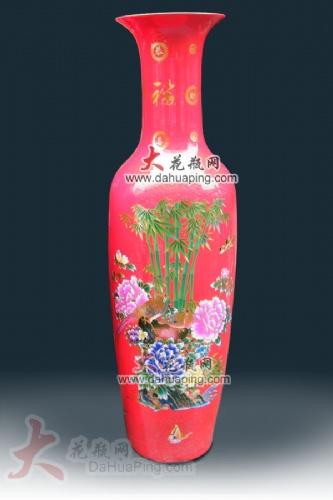 中国红礼品瓷器 景德镇陶瓷大花瓶 花开富贵