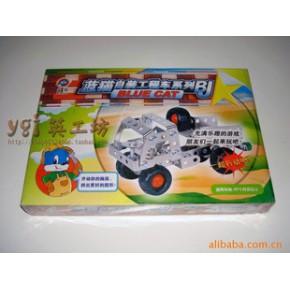 批發供應玩具鐵皮藍貓自裝車工程車
