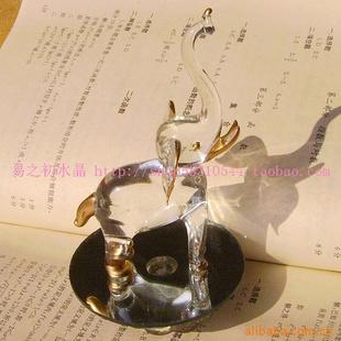 批发水晶玻璃工艺品定做玻璃礼品大象动物摆件3