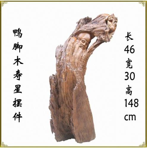 佛缘木雕根雕刻批发 鸭脚樟半天然寿星 祝寿古玩摆件3832