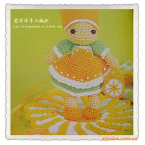 2011新款外貿可愛手工加工洋娃娃玩偶  橘子女孩