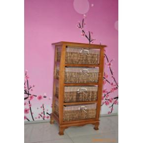各种木制迷您小家具收纳柜草柳编织工艺品