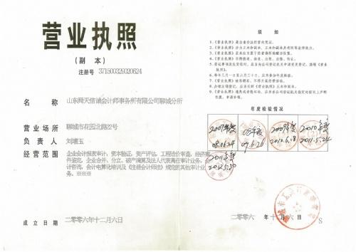 山東舜天信誠會計師事務所有限公司聊城分所