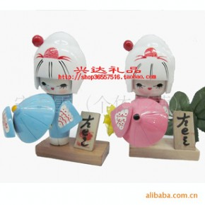 木制日本娃娃-木偶-木制摆件-木制工艺礼品
