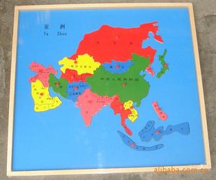 亚洲地囹�9�%9�._蒙特梭利原装教具-亚洲地图 嵌板 木制玩具