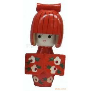 木制日本女孩-木制摆件-木制日本娃娃-日本玩偶
