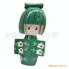木制日本女孩-木制摆件-木制日本娃娃-日本玩偶F