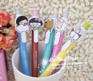 韩国文具 可爱女孩,小动物书签笔/圆珠笔 5款