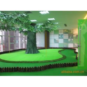 室内高尔夫果岭工程设计施工/三色果岭、景观木桩白沙