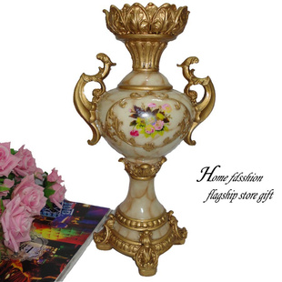 供应欧式宫廷风格家居装饰品双耳摆件花瓶a树脂