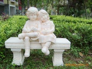 欧式家居饰品*花园小情侣看书座石凳2件组合图片
