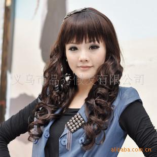 女型将军小卷斜刘海长卷发齐刘海动漫中长假发古风帅气男气质图片