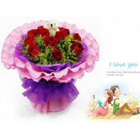 11朵紅玫瑰黃鶯點綴|鮮花批發供應|中國鮮花速遞