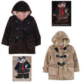 女童麂皮皮绒设备羊羔欧系外套绒牛角毛外套扣带帽长款男童加厚儿童意向书v女童图片