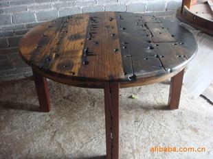 船木餐椅,旧船木椅子餐厅椅 圆桌 木桌 圆形木桌图片