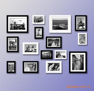 实木相框墙/照片墙组合/z2黑白混搭a-15e1(矩形模版a)相框组合