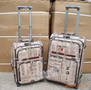 报纸花纹 两件套拉杆箱 钢圈结构 行李箱