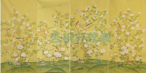 真丝手绘壁纸/丝绸手绘/真丝刺绣壁纸/金箔画
