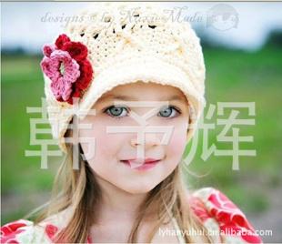 手工编织儿童帽子宝宝帽子毛线帽出口外贸手工帽