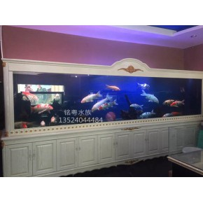 高端实木超白玻璃鱼缸直销大型玻璃观赏鱼缸