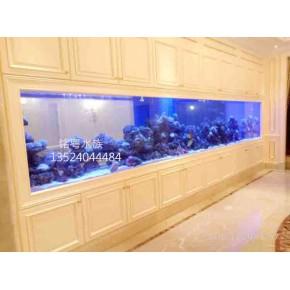 鱼缸直销超大型超白玻璃观赏水族箱 墙内鱼缸