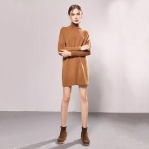 冬季女装新款中长款打的毛衣 纯色中高领针织