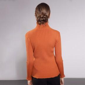 毛衣新款女装毛衣短款套头打底衫堆堆领长袖针织衫
