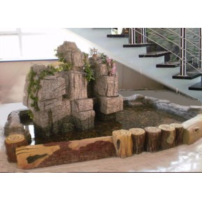 佳木斯鸡西牡丹江室内假山鱼池