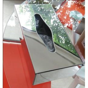 不銹鋼鏡光面巾紙盒臺面紙巾盒餐廳辦公居家盒包郵