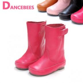 童鞋2014新淘宝货源批发儿童中筒靴女童真皮靴免费代理一件代