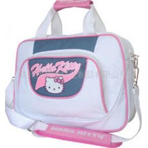 hello ketty 手提斜跨多功能电脑包粉白色大容量新款女包