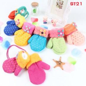 ST21 2-6岁韩版儿童包指手套 冬季保暖针织手套 宝宝圆点花朵手套