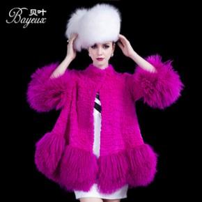 伙拼贝叶Bayeux 皮草 欧洲站2013新品首发獭兔毛皮草外套