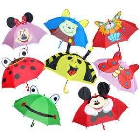 外贸超可爱卡通创意儿童雨伞动物造型立体青蛙甲虫男女雨伞